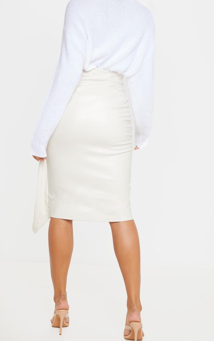 Cream Faux Leather Drape Front Midi Skirt 4