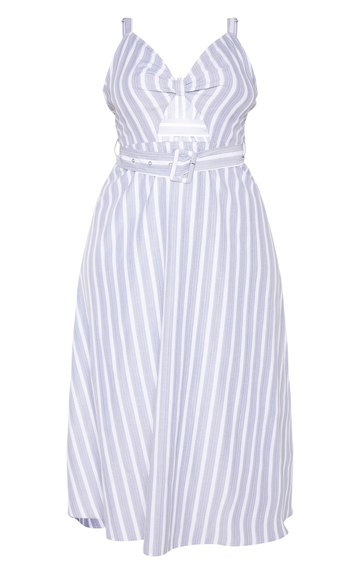 Plus Dusty Blue Striped Cut Out Belt Detail Midi Dress  3