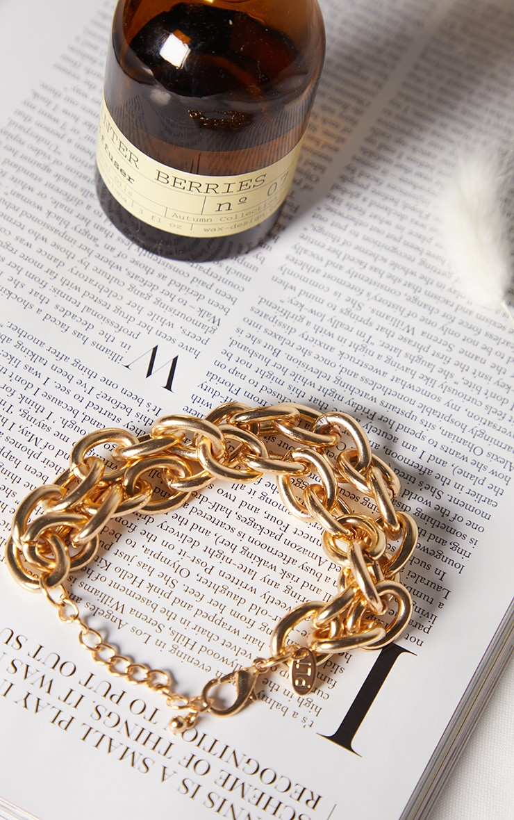 Gold Chunky Double Curb Chain Bracelet