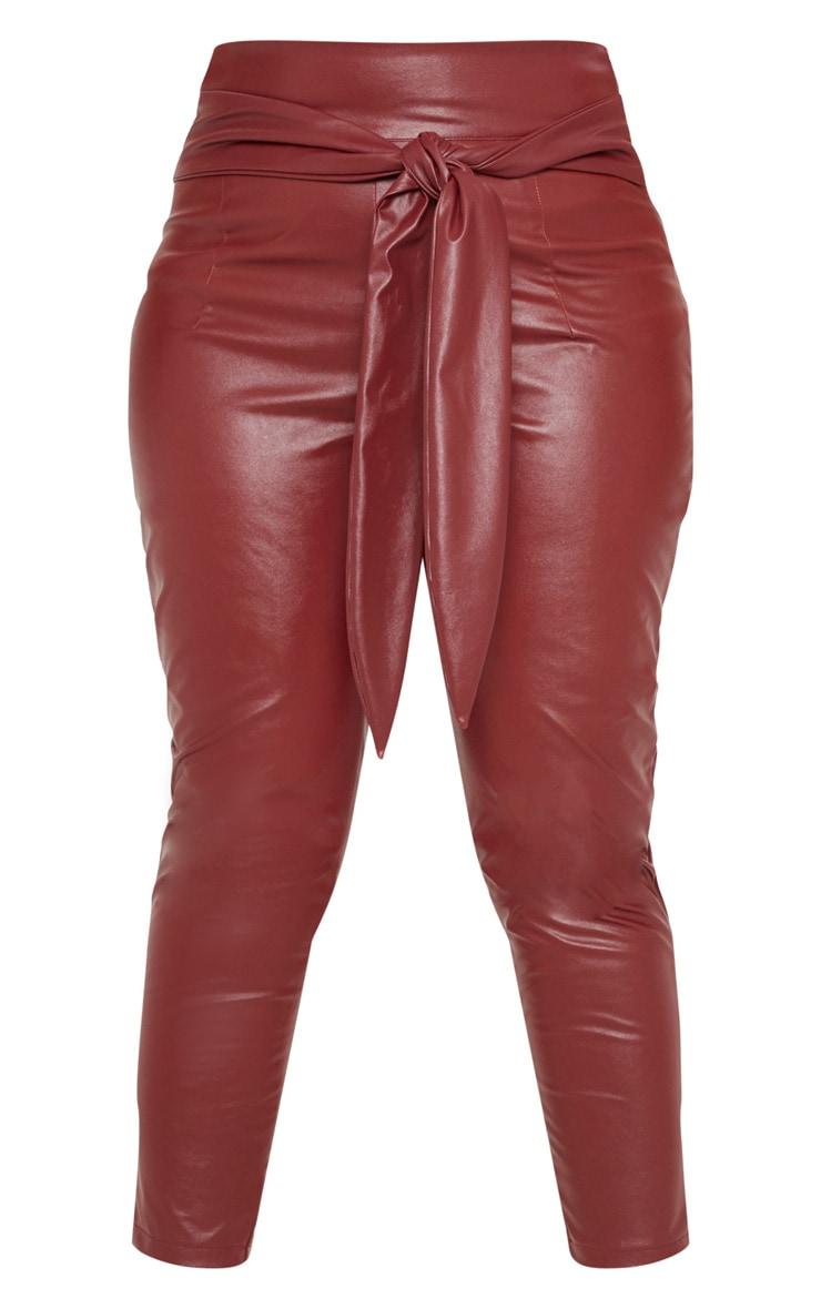 Plus Burgundy Faux Leather Belt Detail Pants 3