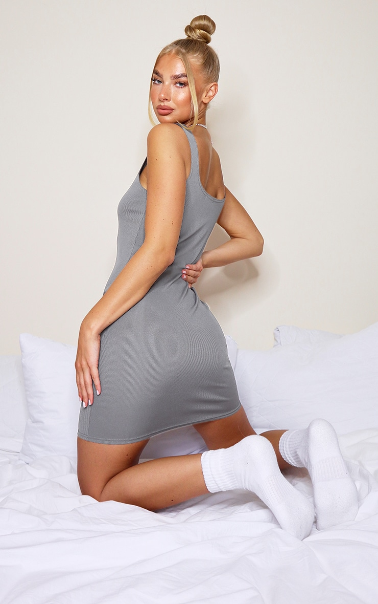 Grey Ribbed Scoop Neck Bodycon Dress 2