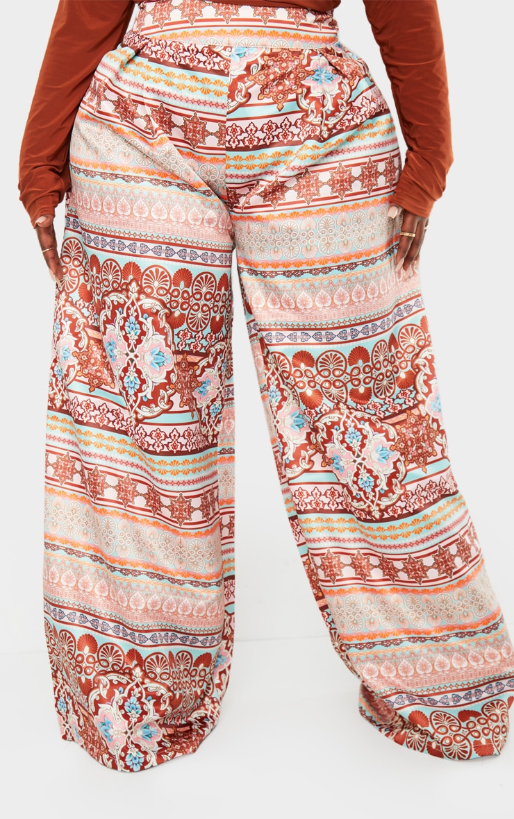 Plus Multi Paisley Print Pleat Detail Wide Leg Trousers 2