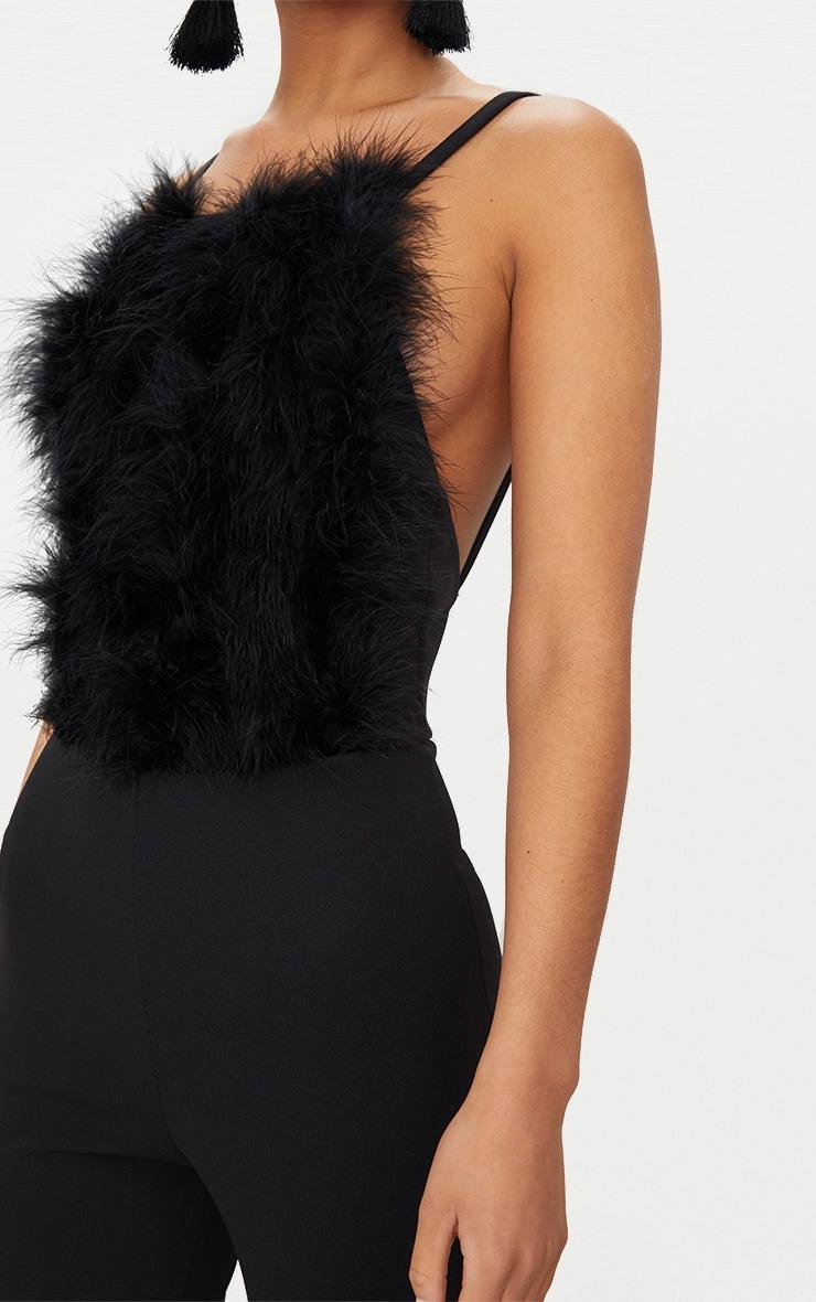 Black Feathers Front Jumpsuit 5