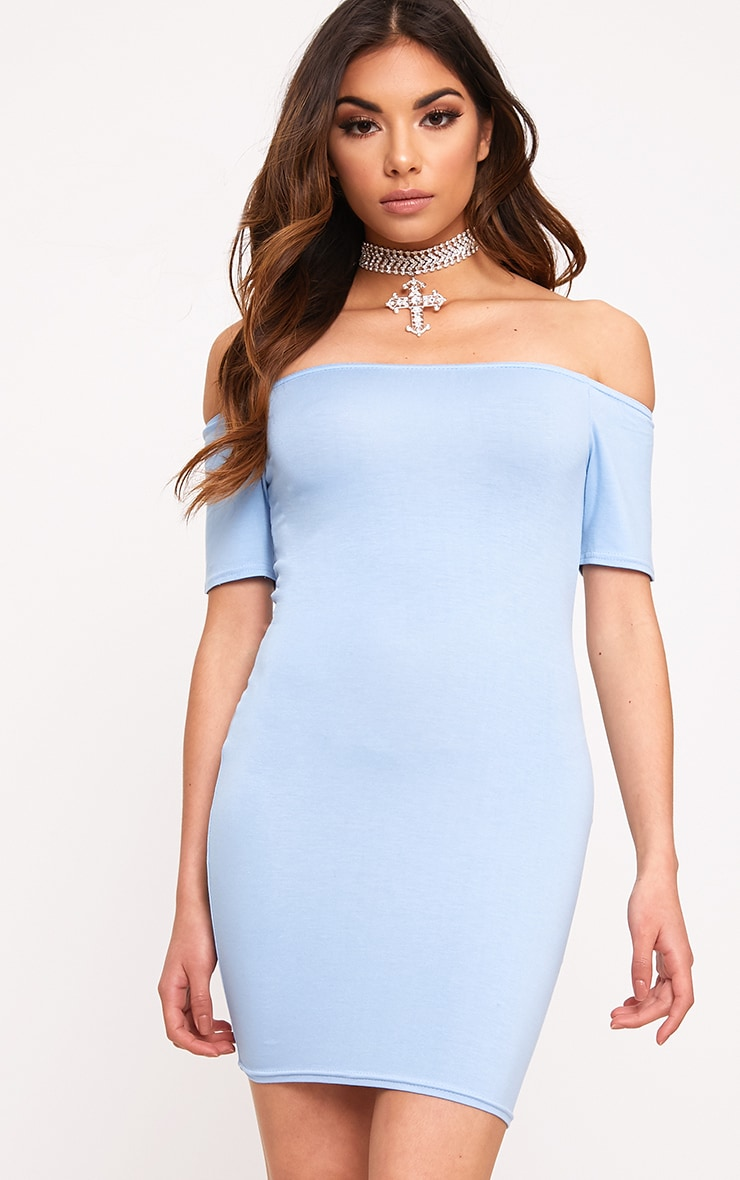 Dusty Blue Basic Short Sleeve Bardot Bodycon Dress  1