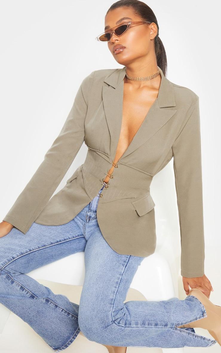 Khaki Corset Woven Blazer 1