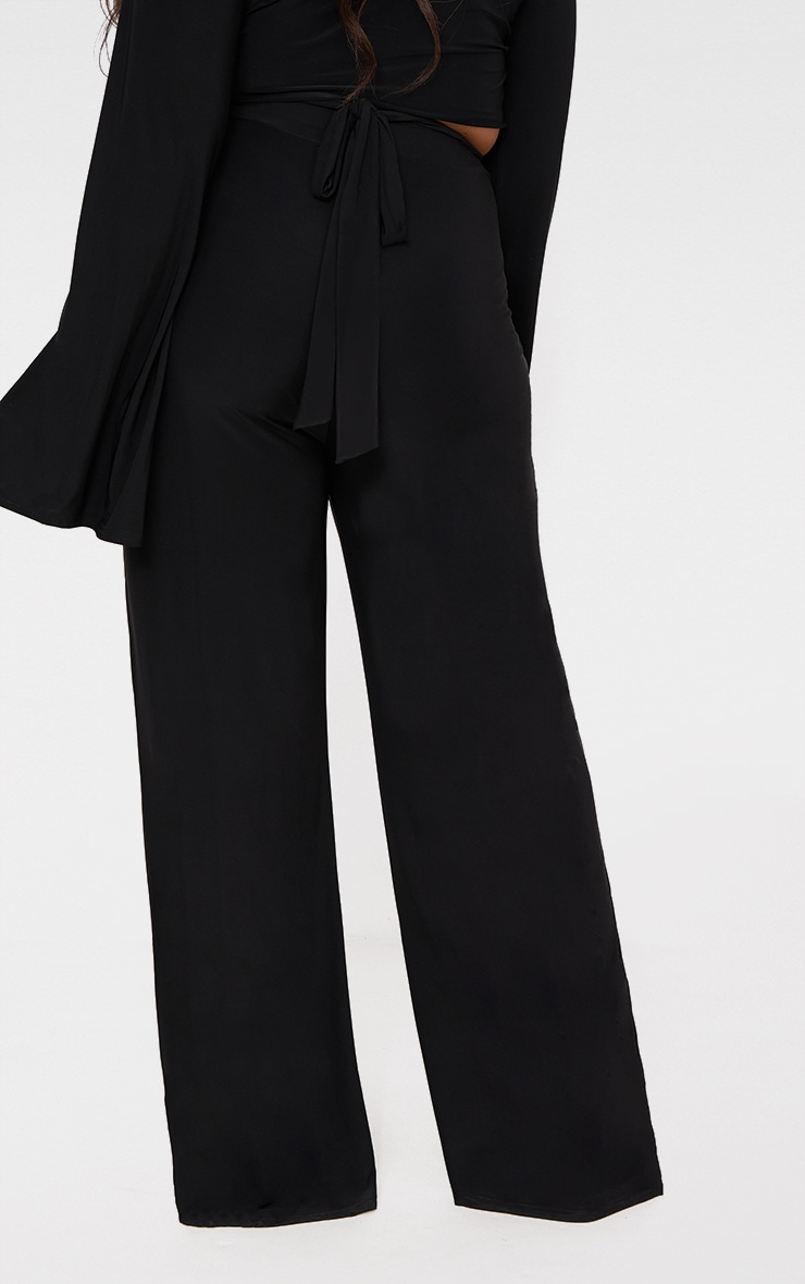 Plus Black Slinky Wide Leg Trousers 4