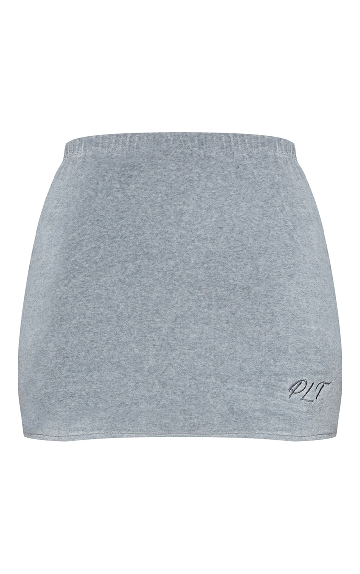 PRETTYLITTLETHING Shape Grey Embroidered Bodycon Skirt 6