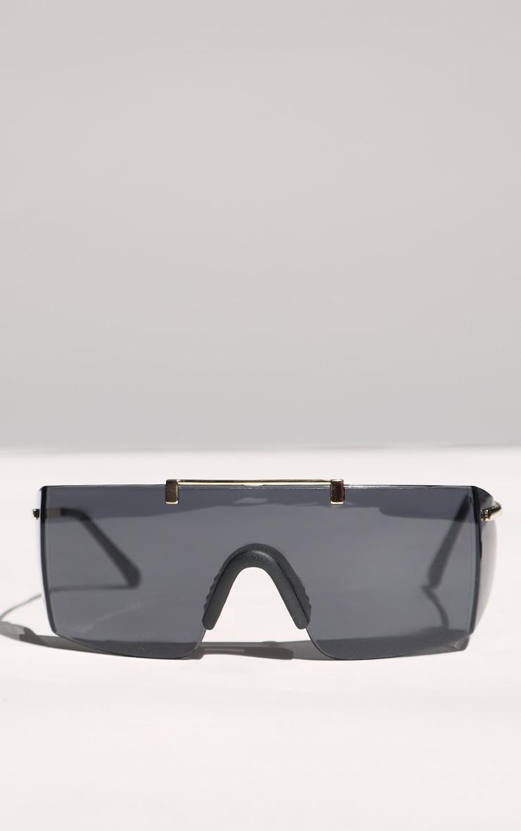 Black Matte Oversized Square Sunglasses 1