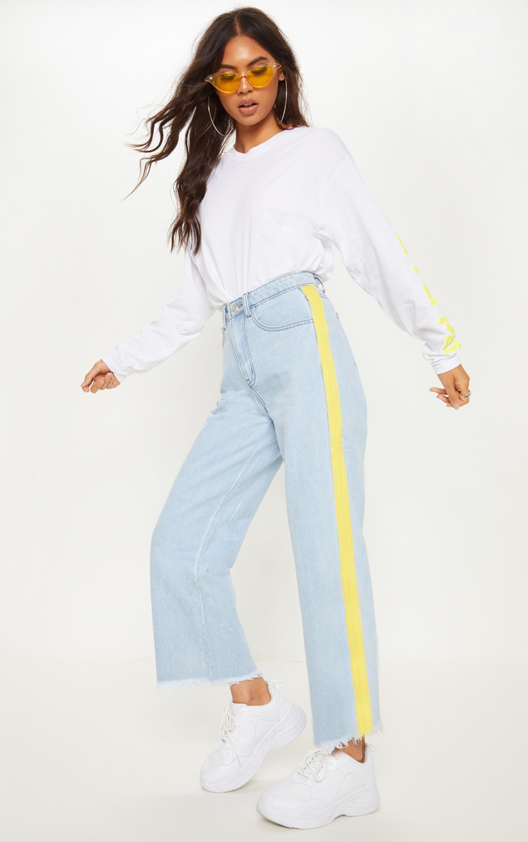 Light Wash Yellow Side Stripe Crop Jean  1