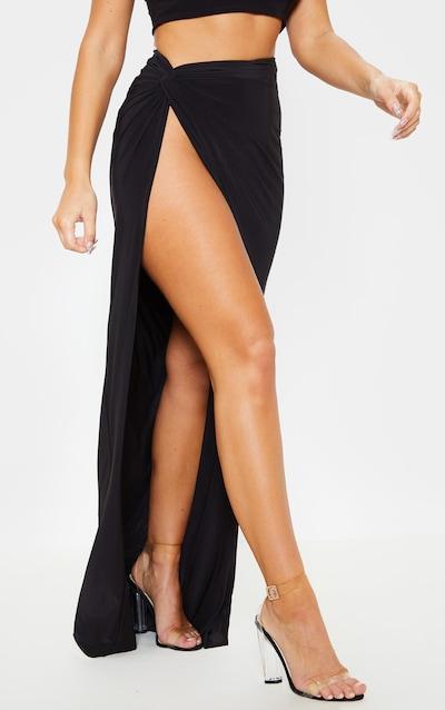 Black Slinky Extreme Split Knot Front Maxi Skirt