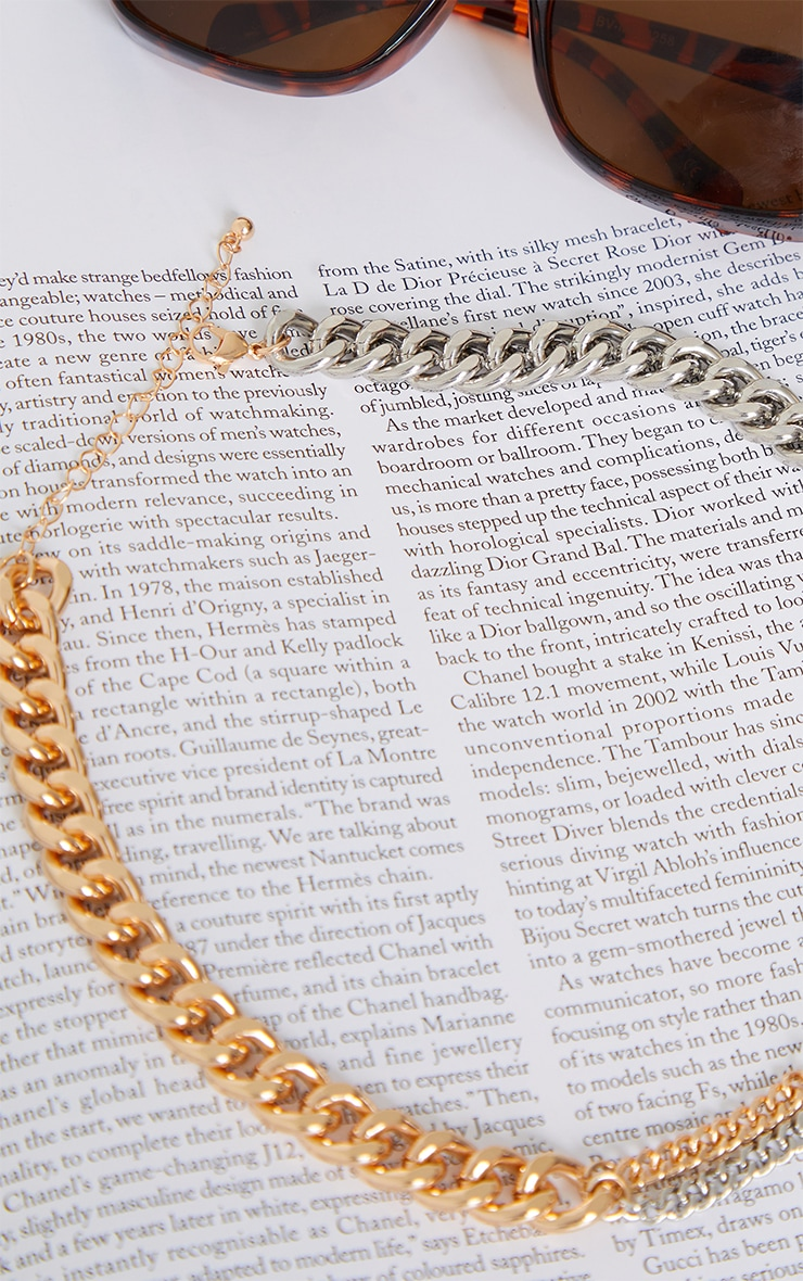 Gold Mixed Metal Assorted Curb Chain Necklace 4