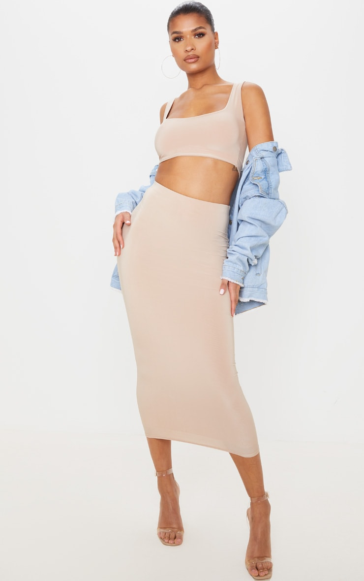 Stone Second Skin Slinky Longline Midaxi Skirt  1