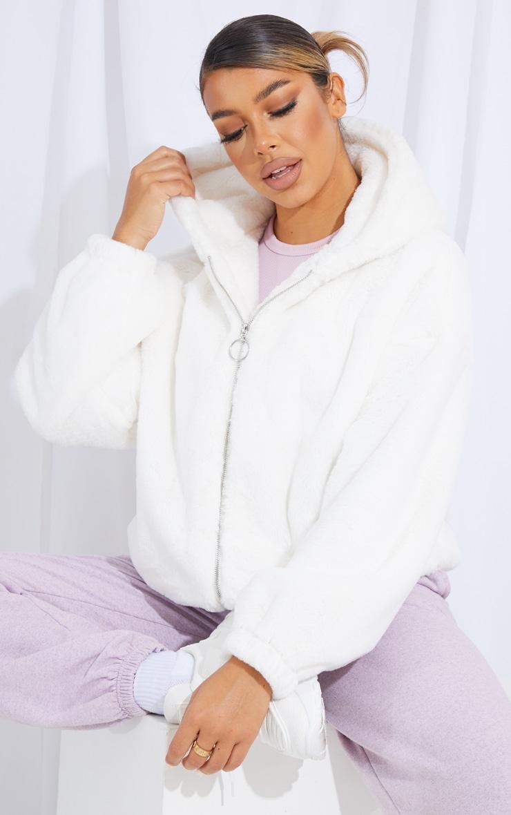 Cream Faux Fur Balloon Sleeve Hooded Jacket 1