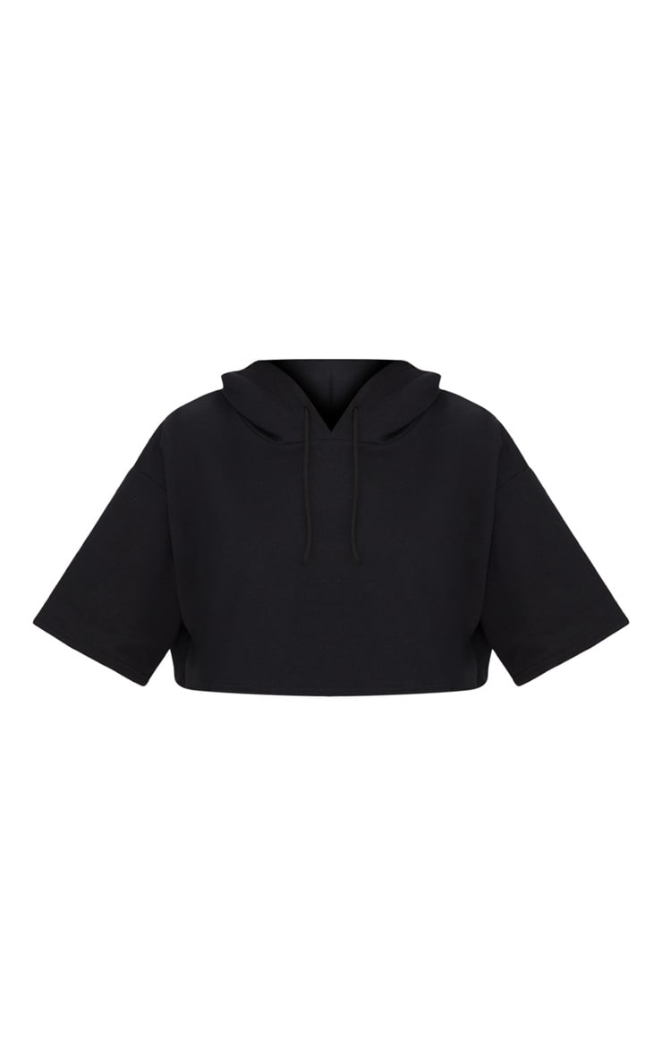 Black Crop Sweat Hoodie 3