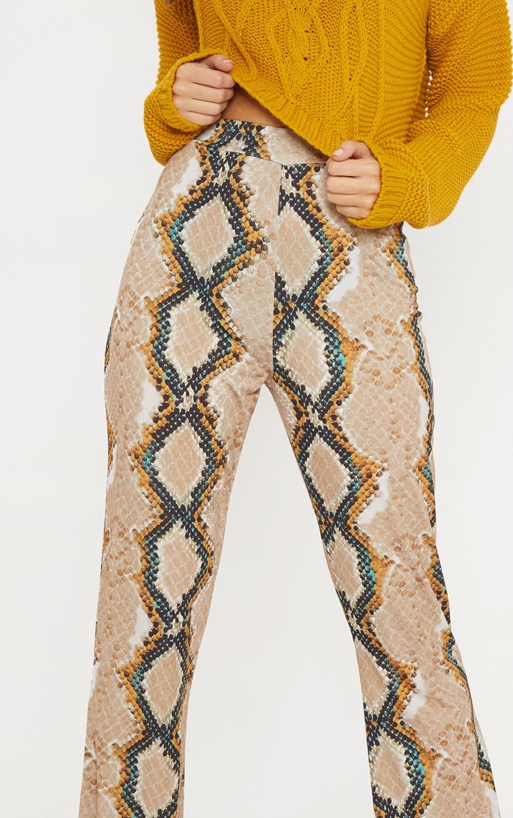 Stone Snake Printed Flared Trouser  4