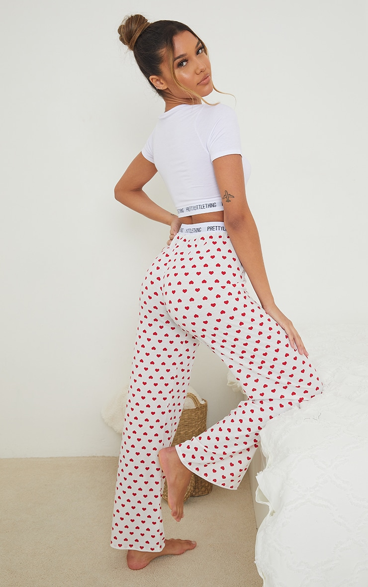 PRETTYLITTLETHING Heart Print Trouser PJ Set 2