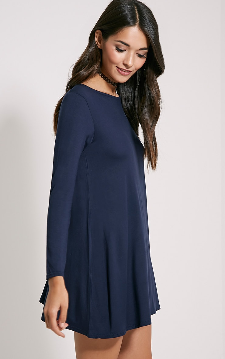 Basic Navy Long Sleeve Swing Dress 4