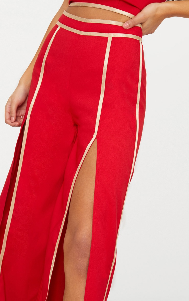 Red Contrast Binding Split Front Wide Leg Trouser 5