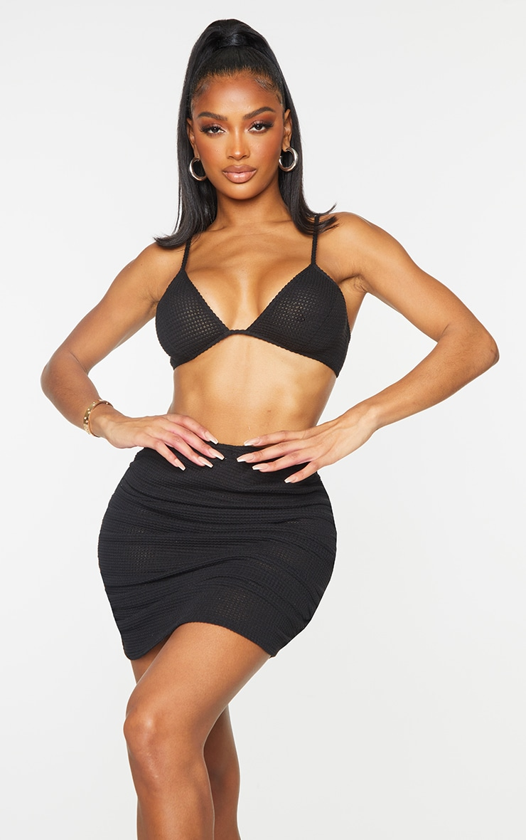 Shape Black Knit Triangle Bralet 1