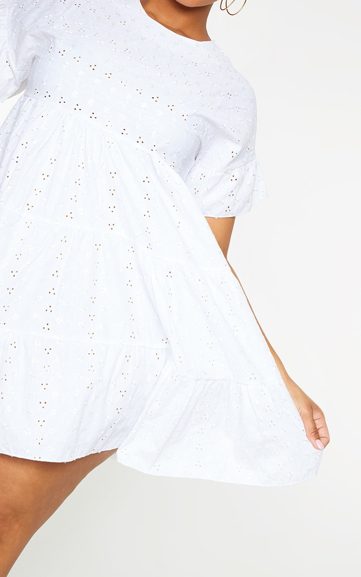 Plus White Broderie Anglaise Smock Dress 5