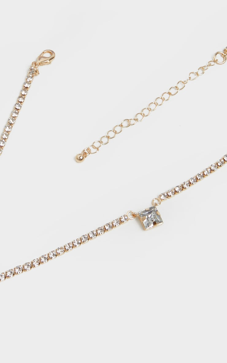 Gold Chain Simple Diamante Pendant Necklace 3