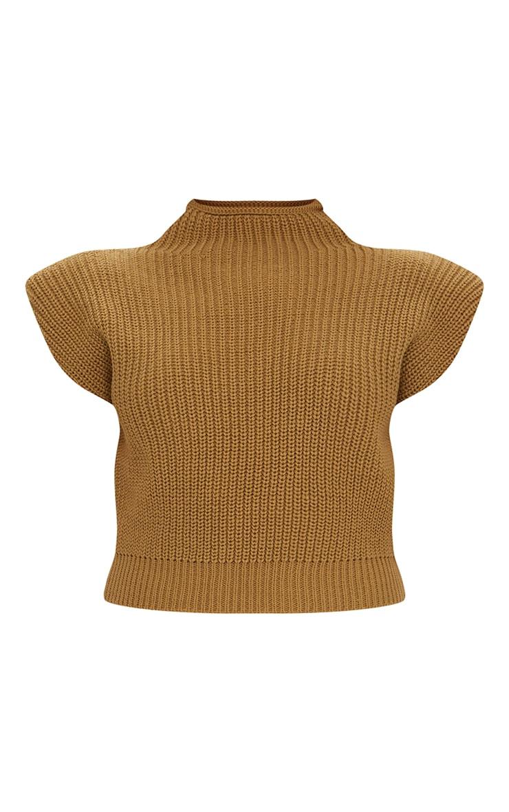 Petite - Pull sans manches en maille tricot camel à épaulettes 5