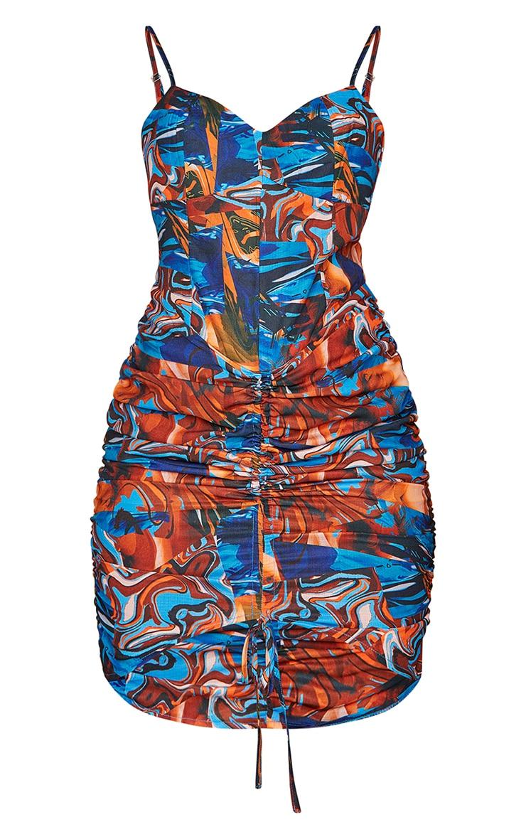 Multi Swirl Print Woven Strappy Ruched Bodycon Dress 5