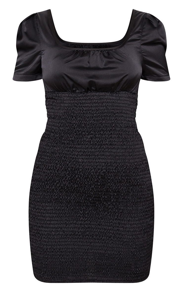 Black Print Shirring Square Neck Bodycon Dress 3