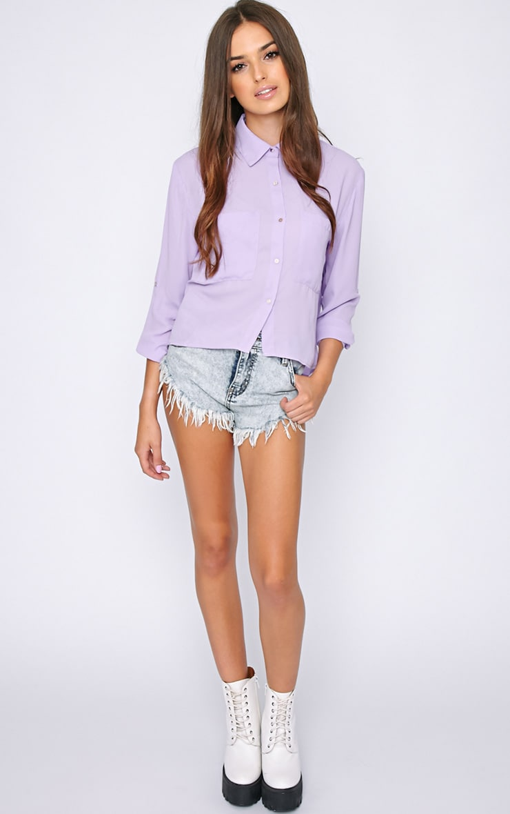 Arya Lilac Cropped Pearl Button Blouse 4