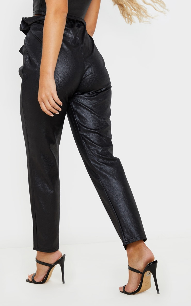 Black Coated Paperbag Waist Trouser 4