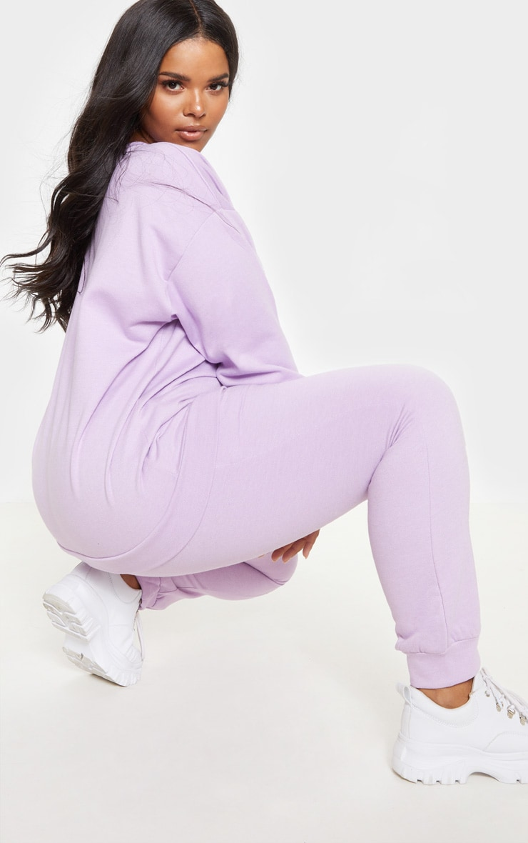 PRETTYLITTLETHING Plus Lilac Embroidered Oversized Sweatshirt 2