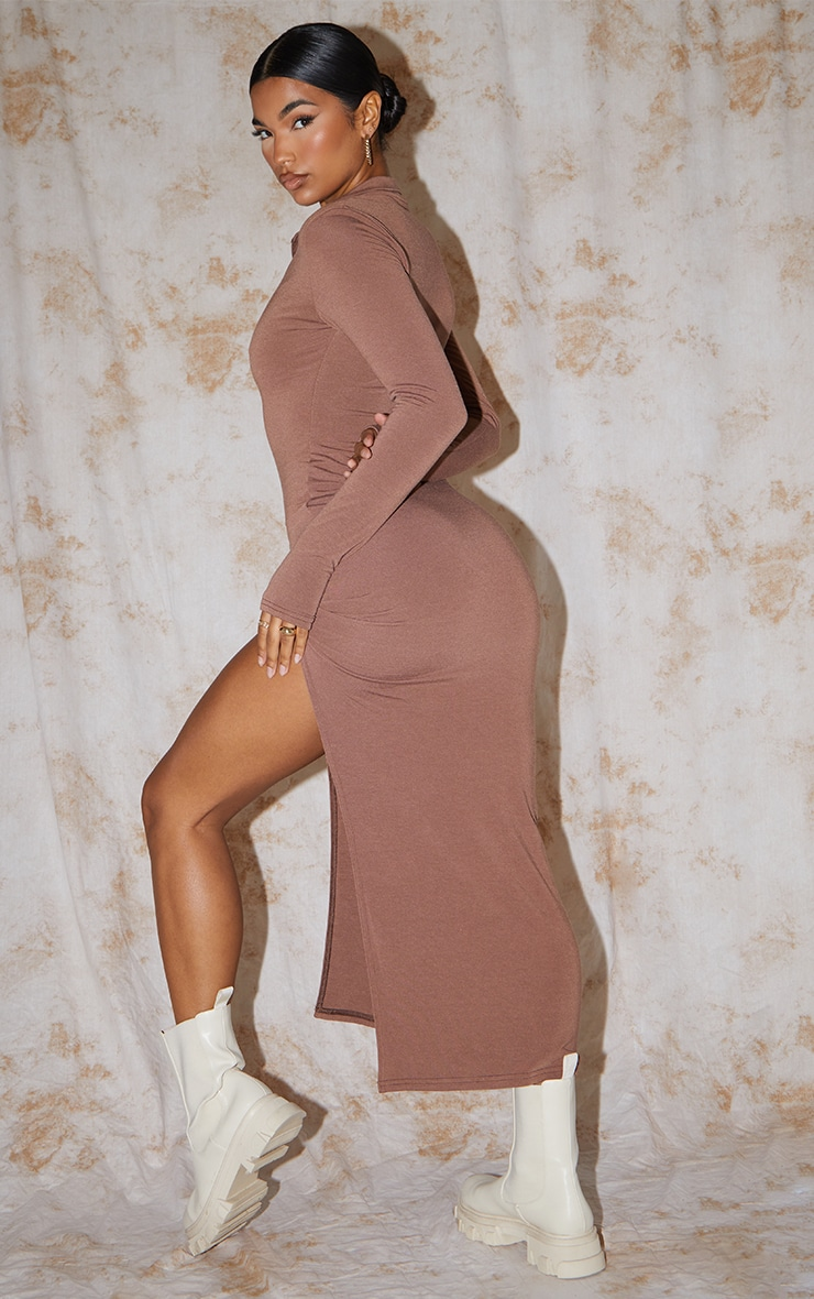 Recycled Chocolate Contour Jersey Split Detail Thumb Hole Midaxi Dress 1