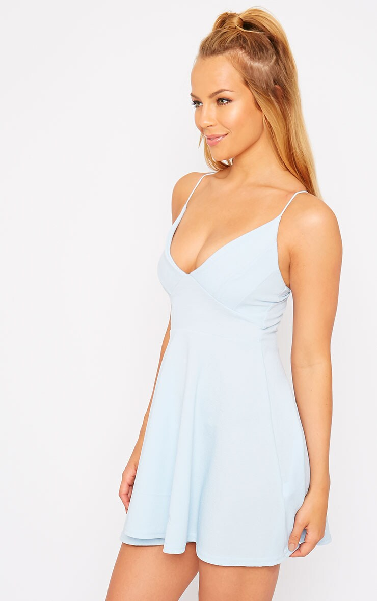 Luccie Blue Crepe Skater Dress 4