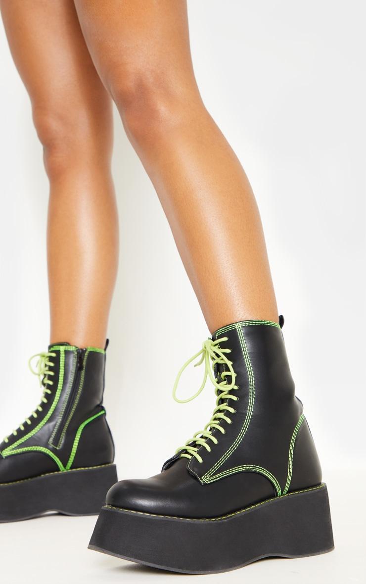 Black Contrast Stitch Chunky Flatform Boot  1