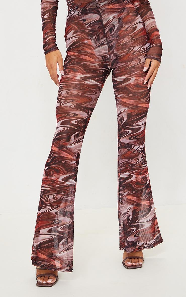 Chocolate Brown Printed Sheer Mesh Flared Pants 2