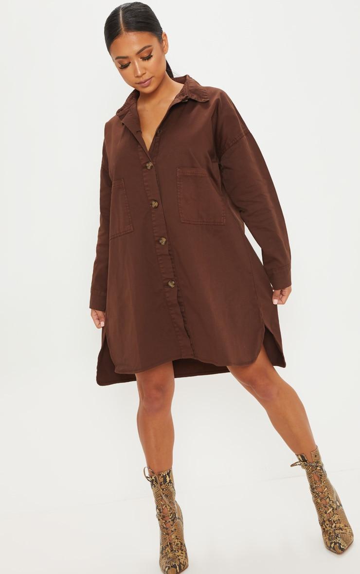 Petite Chocolate Brown Tortoise Button Oversized Denim Shirt Dress 4