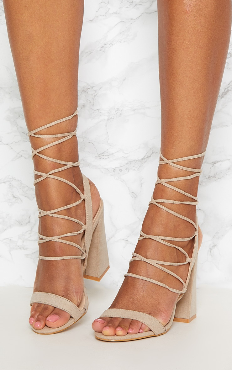 Nude Ghillie Lace Up Block Heel  2