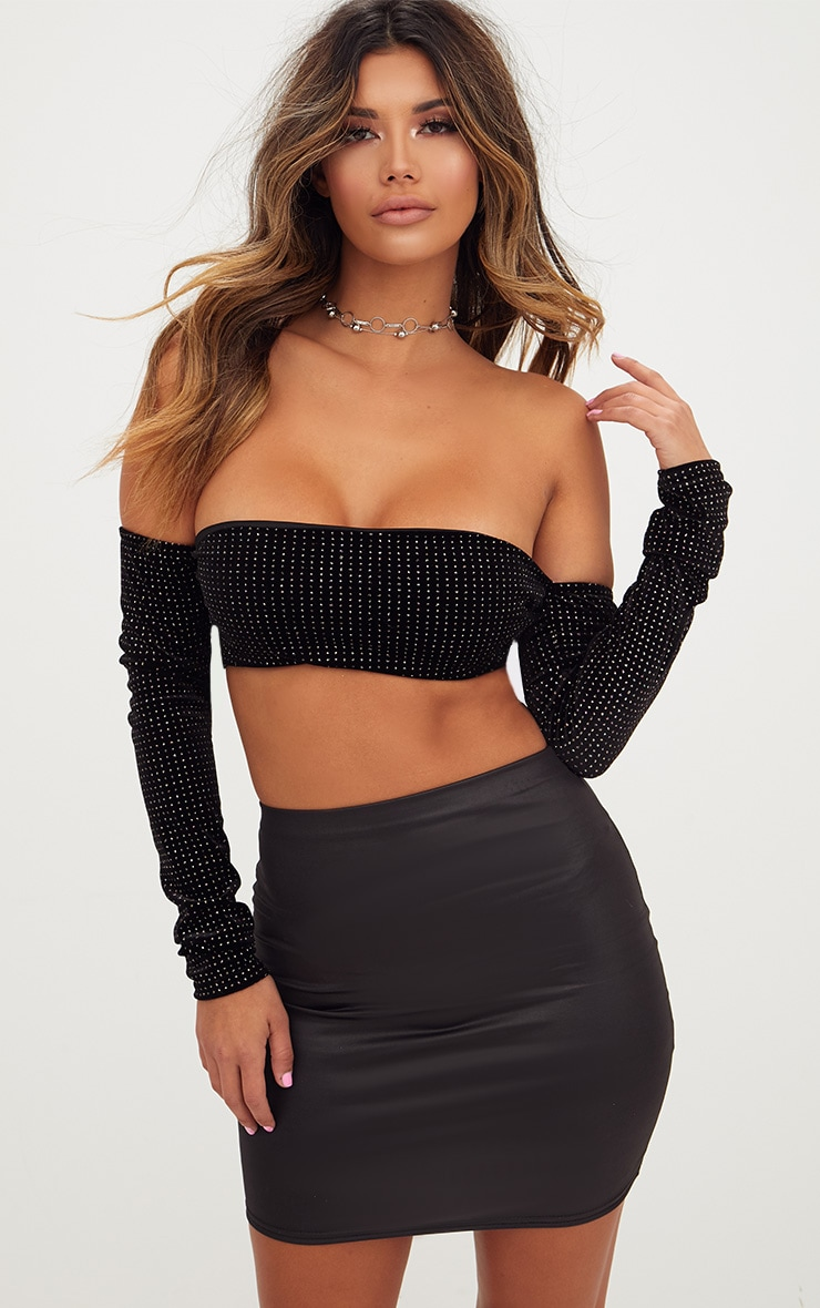 excellent quality online shop undefeated x Black Leather Look Mini Skirt