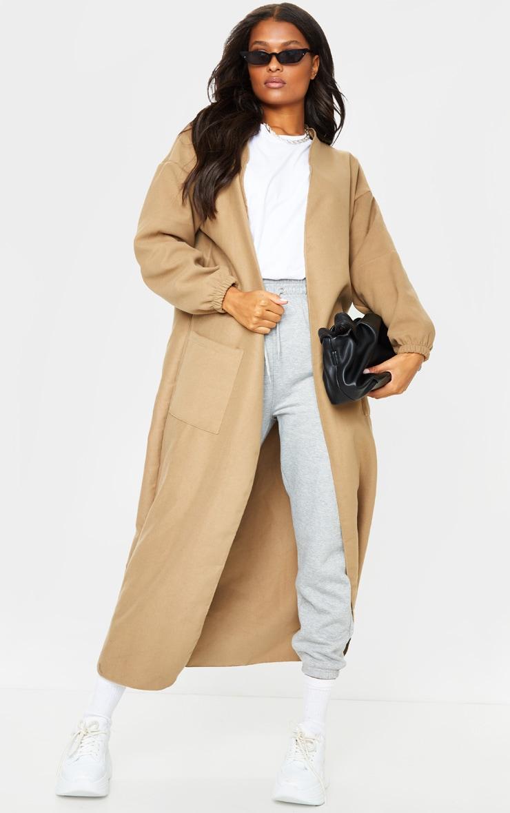 Camel Balloon Sleeve Maxi Pocket Front Coat 1