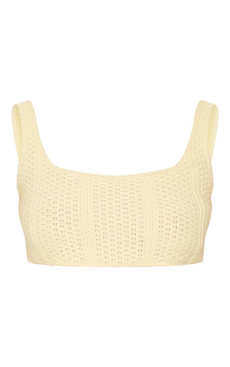 Petite Lemon Pearl Knit Strappy Crop Top 5