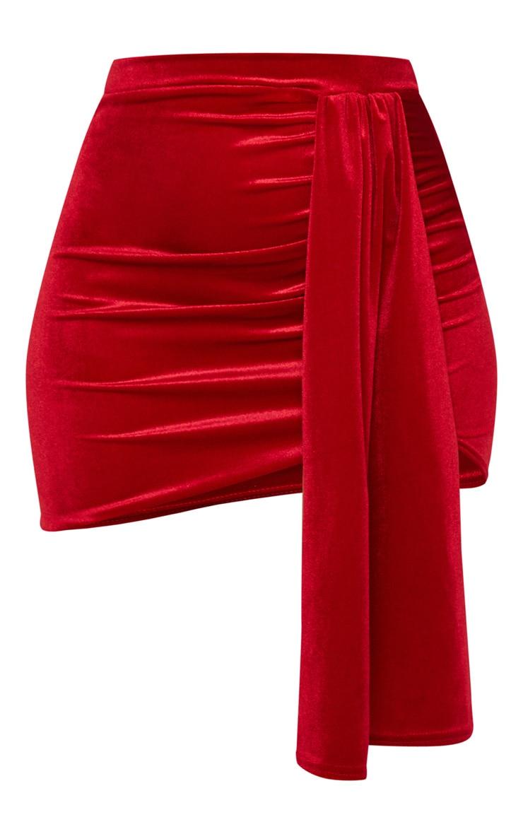 Mini-jupe froncée en velours rouge 3