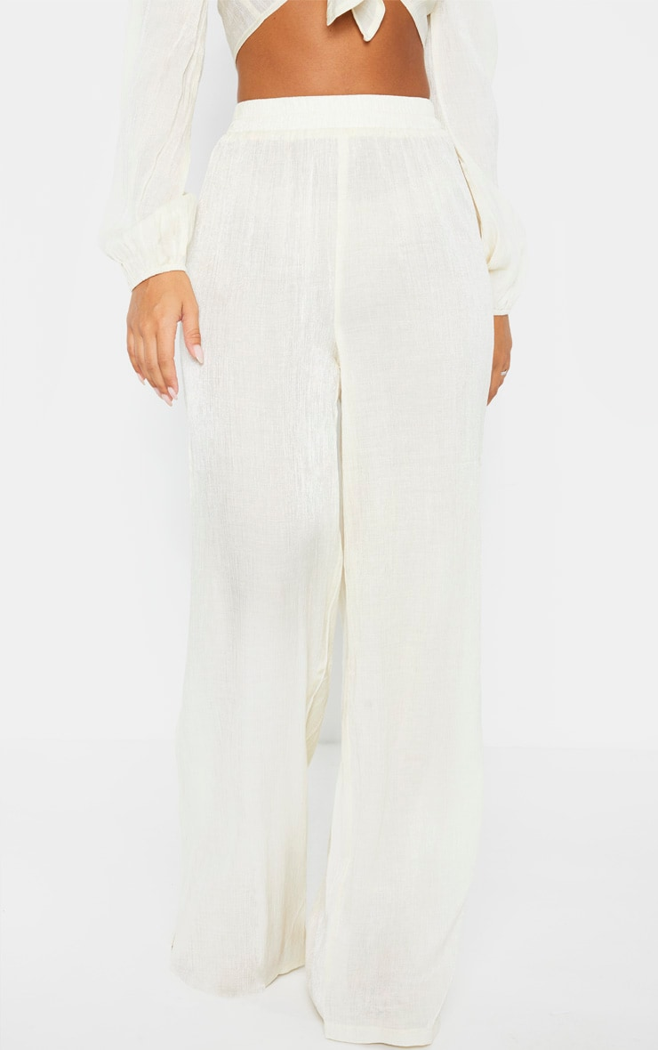 Cream Textured Wide Leg Pants 2