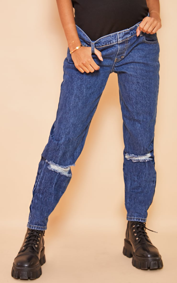 Maternity Blue Mid Wash Ripped Knee Mom Jeans 2