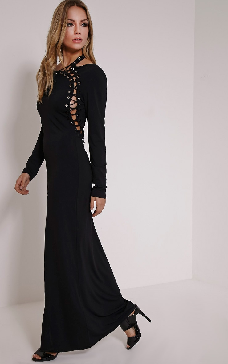 Aryanna Black Asymmetric Lace Up Maxi Dress 1
