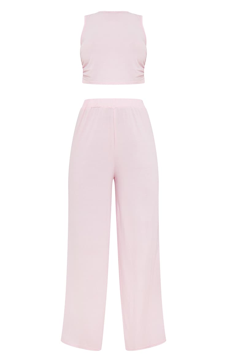 Pink Ruched Crop Top And Wide Leg Trousers Pj Set 5