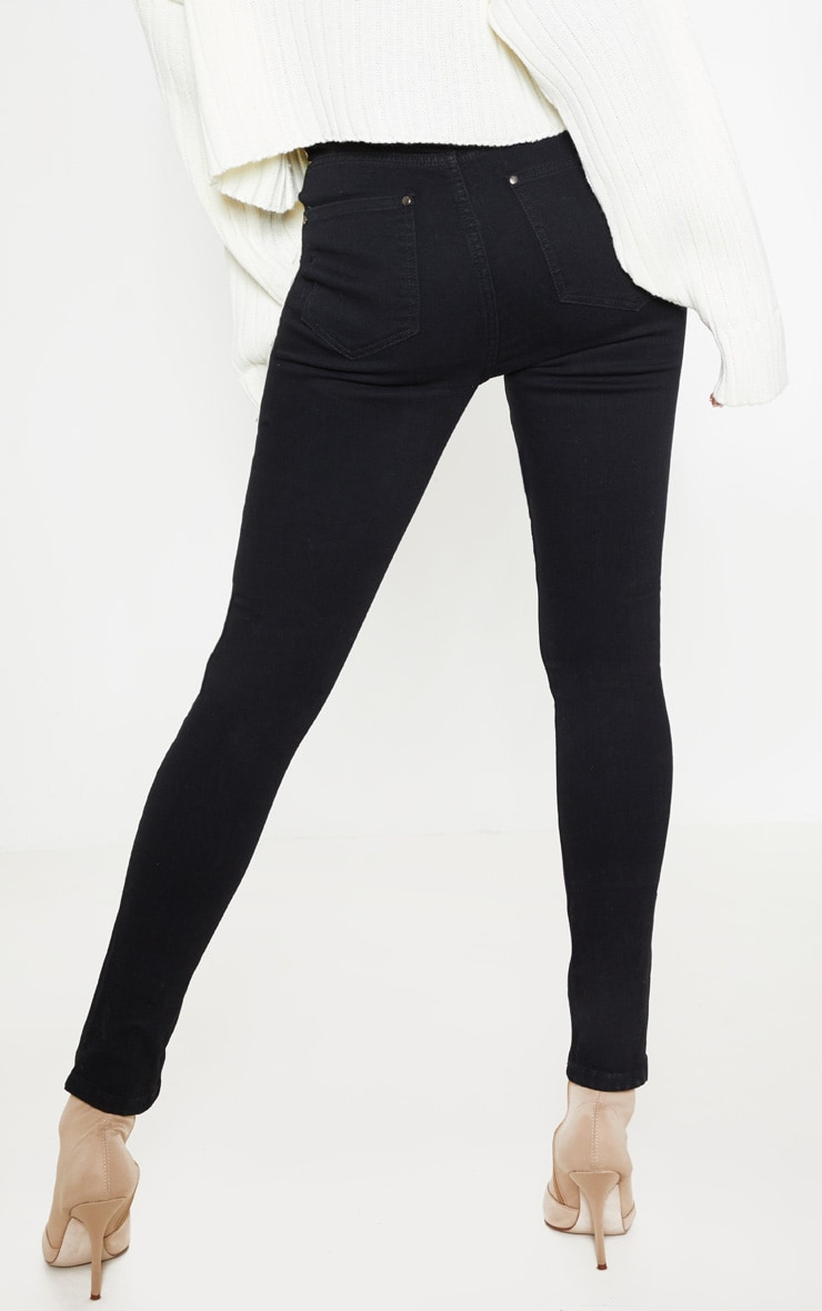 Black Knee Rip 5 Pocket Skinny Jean  4