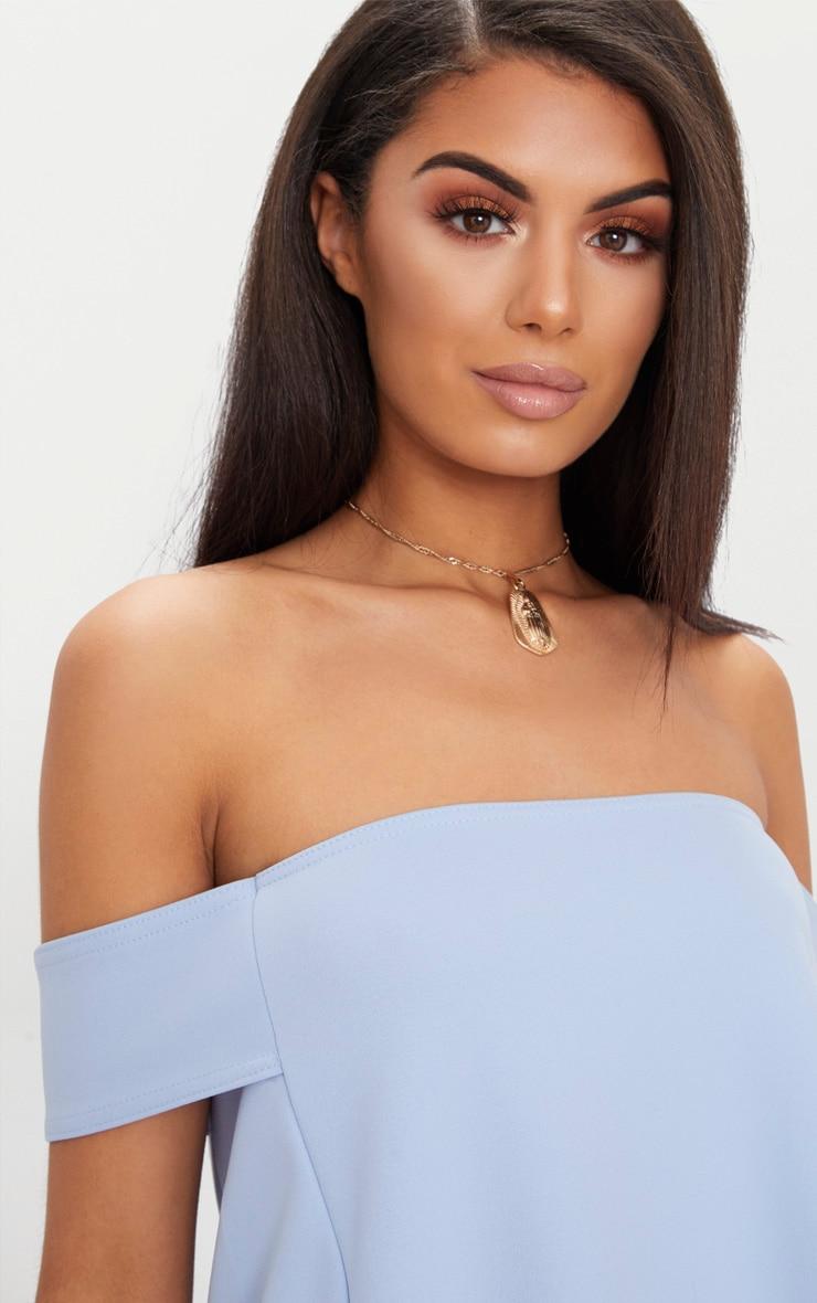 Pale Blue Bardot Longline Scuba Top 5