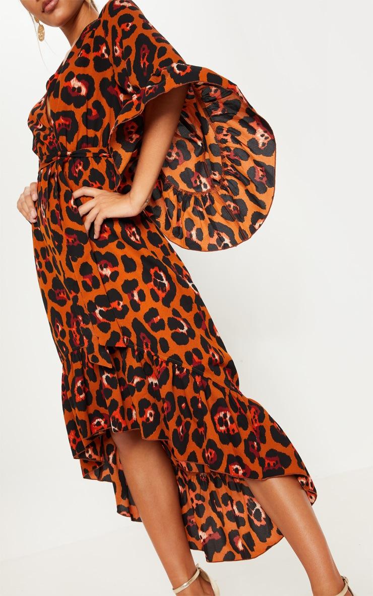 Rust Oversized Animal Print Ruffle Sleeve Wrap Midi Dress 5
