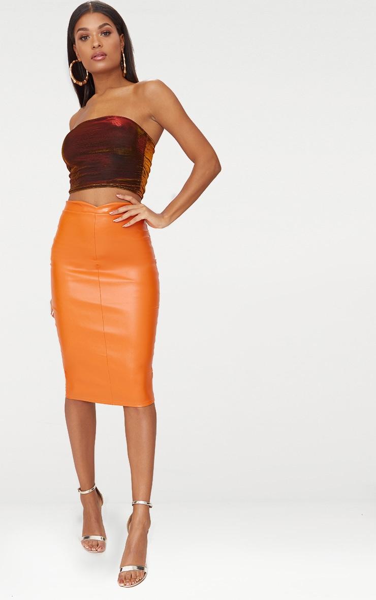 Orange Faux Leather Panel Midi Skirt  1