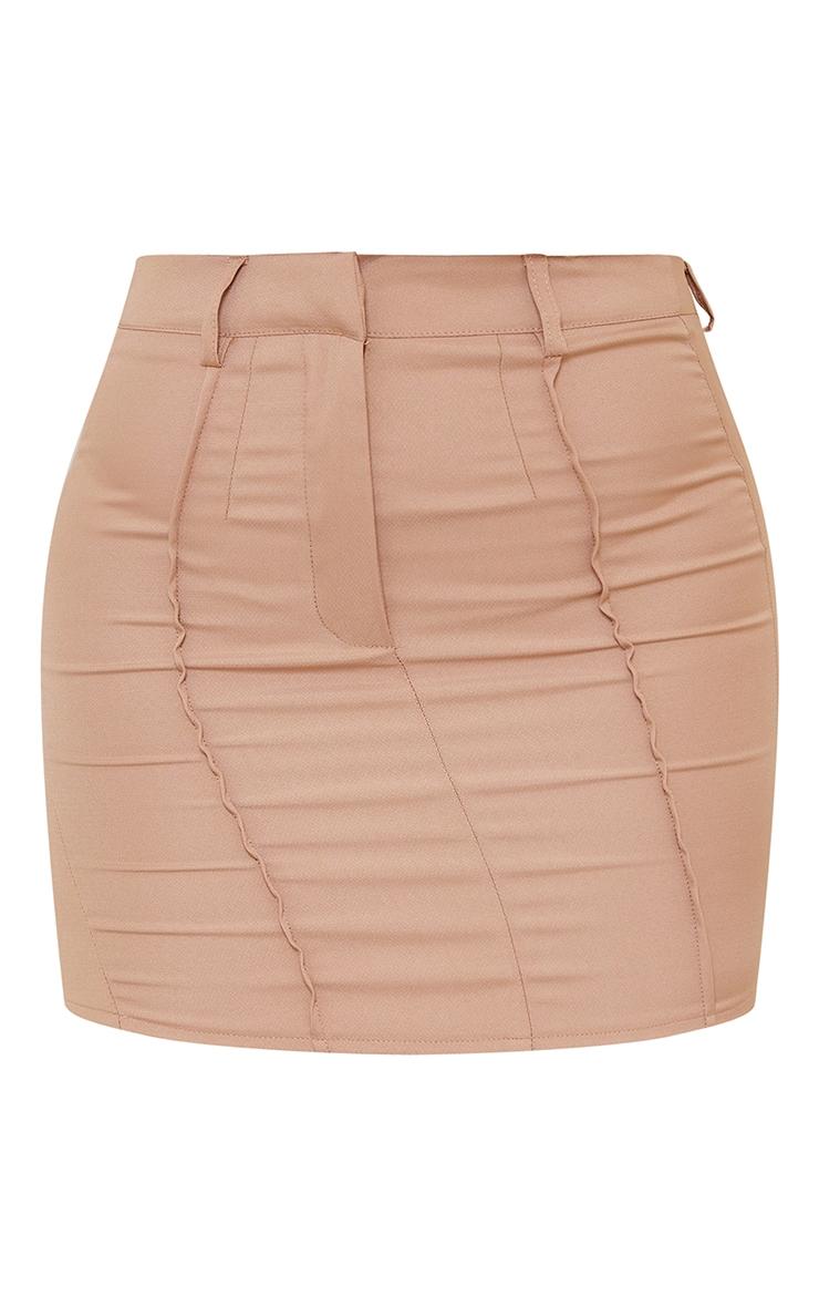 Camel Woven Seam Detail Mini Skirt 6